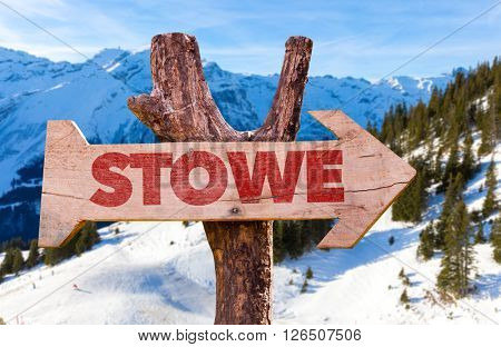 Stowe wooden sign with winter background