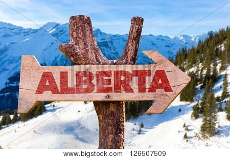 Alberta wooden sign with winter background