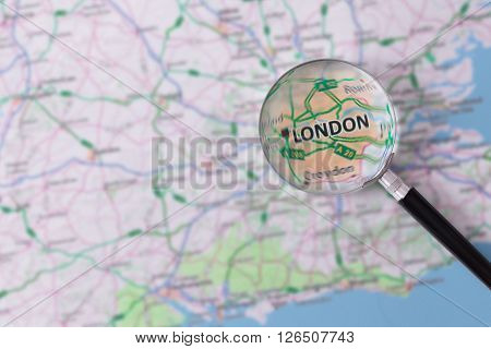 Consultation With Magnifying Glass Map Of London