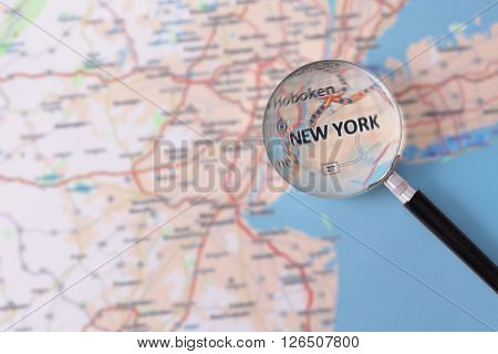 Consultation With Magnifying Glass Map Of New York