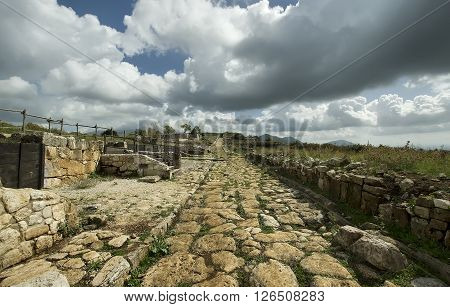 an ancient roman road made with cobblestones