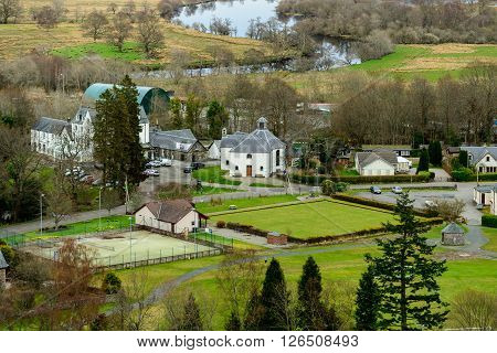 KILLIN SCOTLAND UK - 09 APRIL 2016: Northen part of the village of Killin in the Scottish Highlands from Sron a'Chlachain.