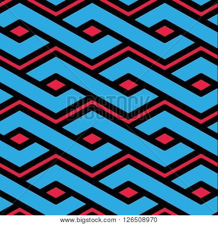 Colorful Geometric Seamless Pattern, Symmetric Endless Vector Background With Intertwine Lines. Abst