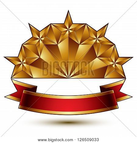 Glamorous Vector Template With Pentagonal Golden Stars, Best For Use In Web And Graphic Design. Conc