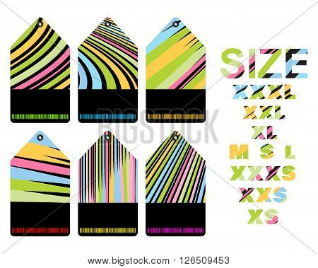 vector blank price tags with different colored stripes with a black insert for text