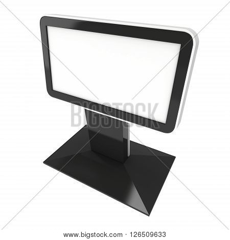 LCD Light Box Ad Stand. Blank advertising lcd billboar box. 3d render isolated on white background. High Resolution. Ad template for your advertisement