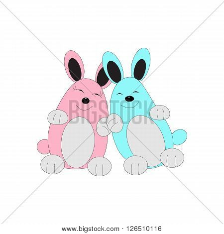 The image of two animals. The in love couple. Two happy, amicable and cheerful rabbits. One pink, second light-blue.
