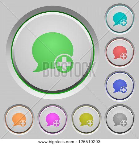 Set of color Post blog comment sunk push buttons.