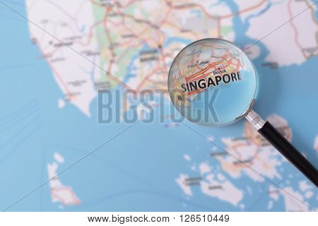 Consultation With Magnifying Glass Map Of Singapore