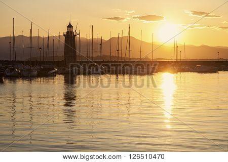 Lighthouse in Desenzano del Garda. Desenzano del Garda Lombardy Italy.