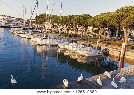 Desenzano Harbor in Desenzano del Garda. Desenzano del Garda Lombardy Italy.