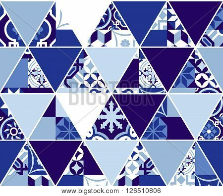 Triangle Blue Pattern With Classic Mosaic Tile Art