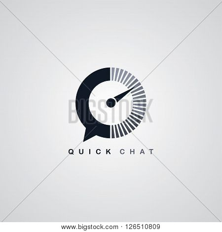 quick chat speedometer logotype theme vector illustration