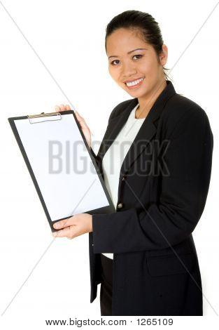 Asian Business Woman Showing A Folder