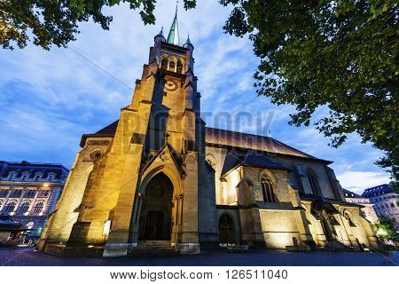Saint-Francois Church in Lausanne. Lausanne Vaud Switzerland.