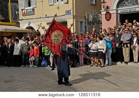 CORFU GREECE - APRIL 18 2009: Head of the Epitaph lament procession carrying an icon of Saint Spyridon on the morning of Holy Saturday