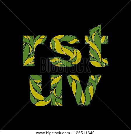 Flowery Font With Natural Ornament. Green Drop Caps Decorated With Spring Floral Pattern. V, R, S, T