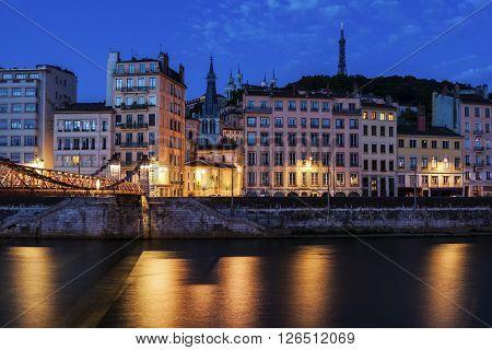 Architecture of Lyon along Saone River river. Lyon Rhone-Alpes France.