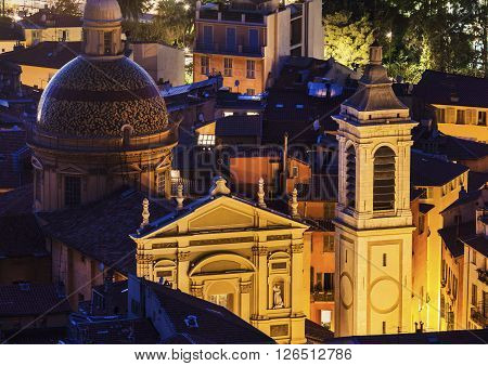 Ste Reparate Cathedral in Nice at evening. Nice French Riviera France.