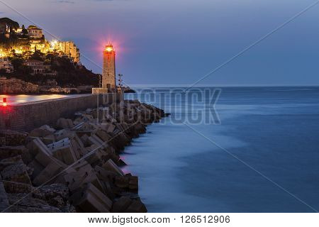 Nice Lighthouse at sunrise. Nice French Riviera France.