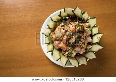 Bowl Of Chirashi Sushi With Mixed Raw Fish And Salmon