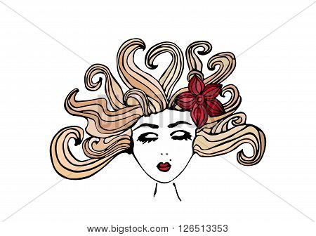 Beautiful hand drawn girl with closed eyes, scattered blond hair and with a flower in her hair, vector illustration