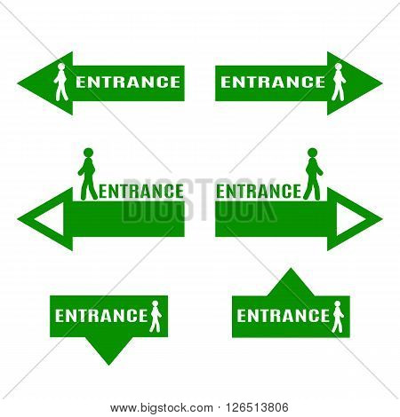 Vector image of man walking on the arrow. Green icons and signs showing the entrance.
