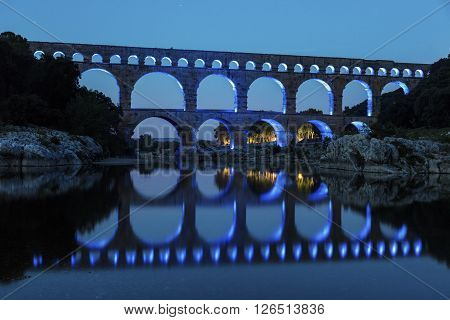 Pont du Gard at night. Vers-Pont-du-Gard Gard France.