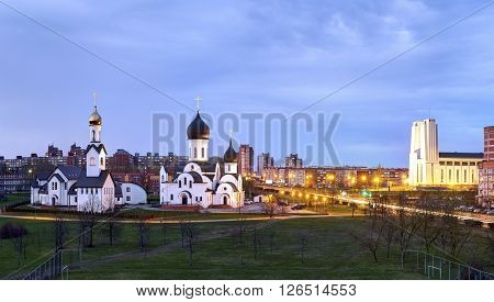 Pokrov-nikolskaya Orthodox Church In Klaipeda, Lithuania. Was Built In 2000, In The Public Park. Has