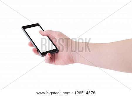 Right hand holding big touch screen smart phone, angle view, isolated on white, clipping path