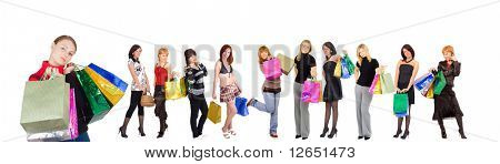 "Group of Eleven shopping girls with happy and relaxed one at the front  - See similar images of this ""Gorgeous shopping women"" series in my portfolio"