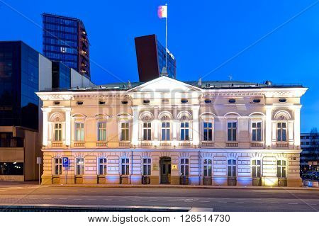 Klaipeda, Lithuania -11 April 2016: Illuminated Municipal Administration Building In The Old Town Di