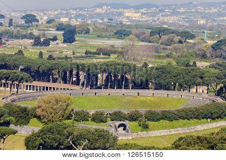 Amphitheatre of Pompei - aerial view. Pompei Campania Italy.