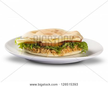 The Beirut - A Brazilian Sandwich. White Background.