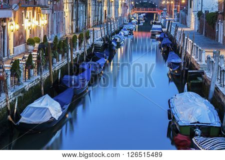 Venice canals at night. Venice Veneto Italy