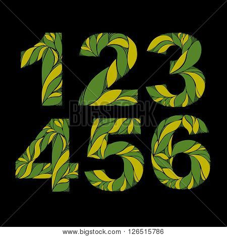 Stylish Figures With Green Summer Herbal Ornament. Beautiful Numbers Set With Floral Pattern, 1, 2,