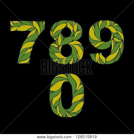 Decorative Numerals With Natural Pattern. Flowery Green Ecology Style Digits, Calligraphic Numbers.