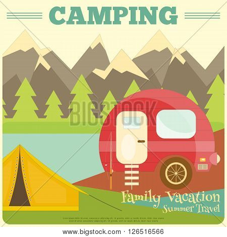 Mountain Camping with Family Trailer Caravan. Campsite Landscape with RV Traveler Truck and Tent. Outdoor Traveling Vacation. Vector Illustration.