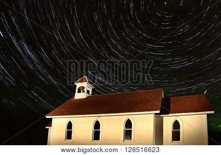 Church Night Shot star trails Saskatchewan Canada