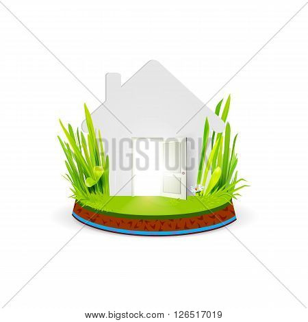 Conceptual image of paper house located at green natural grass, land and water on a stand. Eco home with open door creative concept. Trend vector illustration. Eco house symbol, sign. Ecology architecture. Eco housing banner