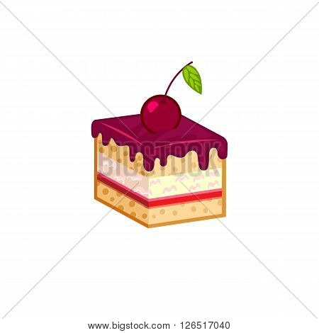 Cherry cake slice isolated on white background. Vector illustration for tasty bakery