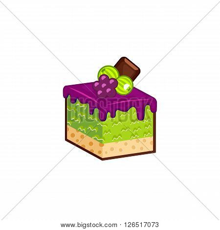Berries cake isolated on white background. Vector illustration for tasty slices bakery shop