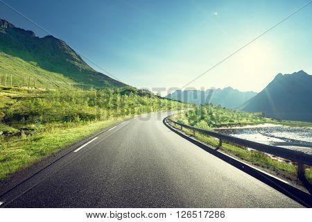 road by the sea, Lofoten island, Norway