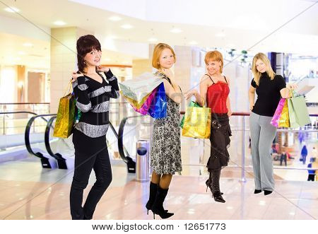"group of girls in a mall with shopping bags  - See similar images of this ""Groups of shopping women"" series in my portfolio"
