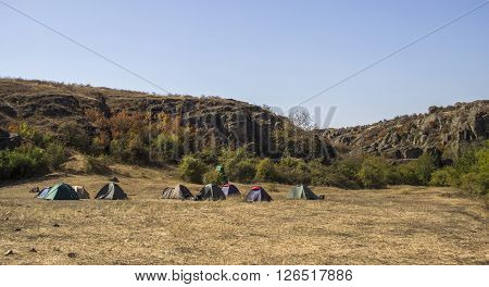 the tents of tourist camping in the mountains