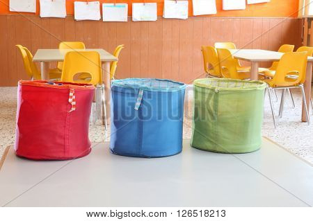 Three Colored Jars For Games In Kindergarten Class