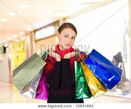 "shopping girl in a mall  - See similar images of this ""Gorgeous shopping women"" series in my portfolio"
