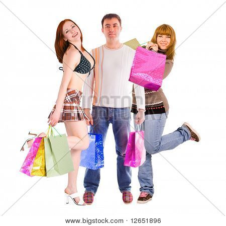 "shopping man and his two girlfriends  - See similar images of this ""Gorgeous shopping women"" series in my portfolio"