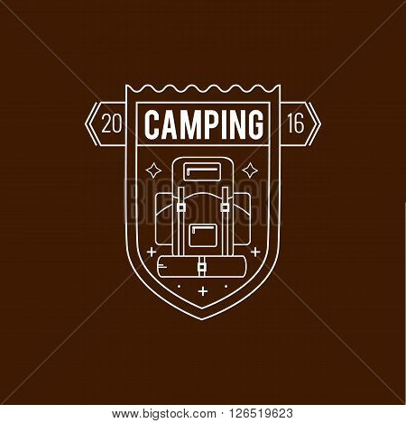 Camping badge in outline style. Vector camping logo emblem. Illustration of camping concept badge for your design. Isolated camping logo badge.