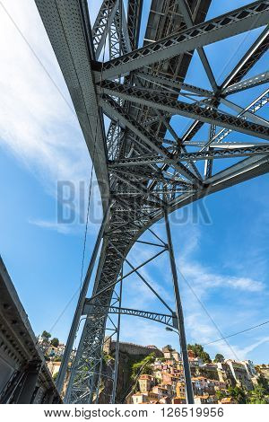 City of Porto in Portugal. Ponte Luiz I Bridge over Douro river and historic architecture of the Old Town.